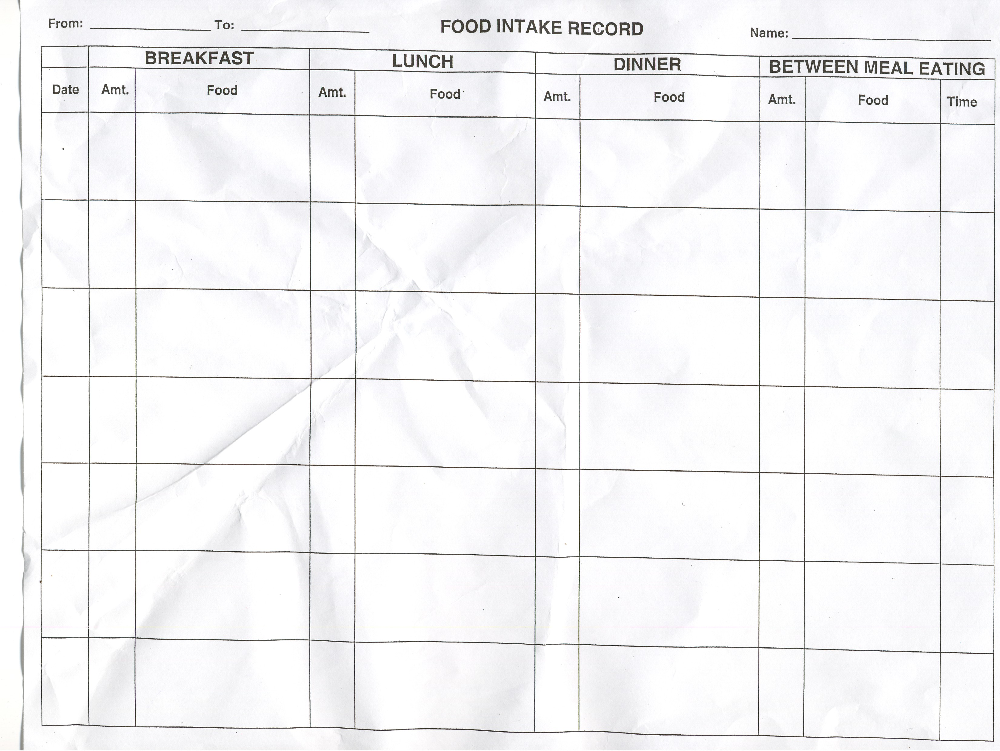 To Record Food Intake Chart Blank Blood Pressure Chart